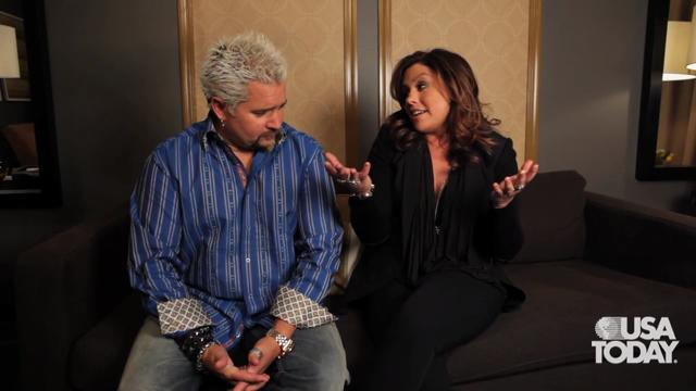 Food Network Hosts and personalities Rachael Ray and Guy Fieri sit down with USA Today in 2011 to talk about their love of food.