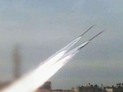 Raw: Rocket launches from inside the Gaza Strip