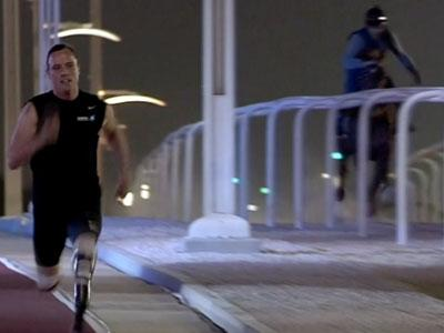 Raw: Pistorius takes on race horse and wins
