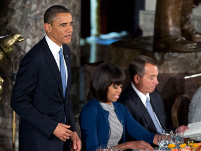 Obama toasts lawmakers at congressional luncheon