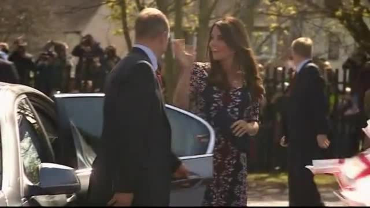 RAW VIDEO: Kate's Baby Bump on Display During School Visit
