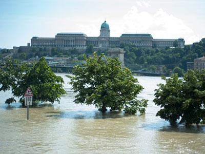 Raw: Floodwaters going down in Hungary