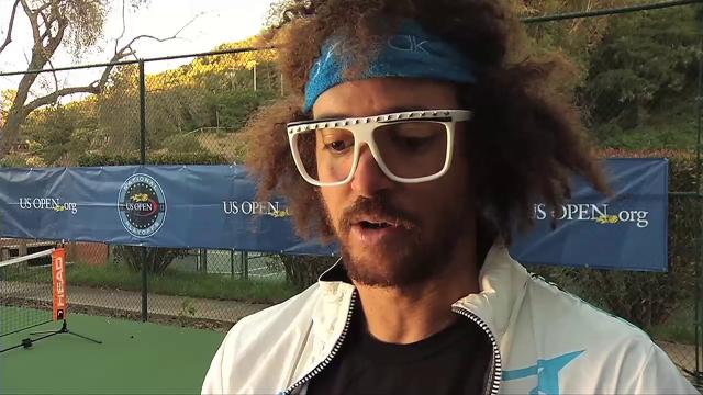 Recording artist Redfoo tries to qualify for U.S. Open