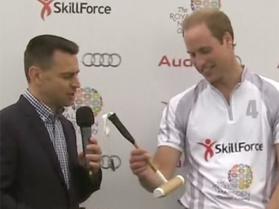 Raw: Prince William given a mini mallet for son