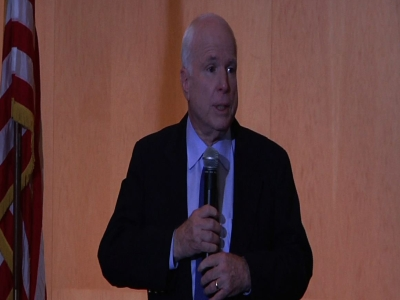 Fiesty town hall questions McCain on Syria