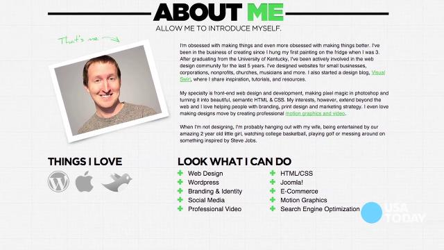 Attractive Personal Profile Website Templates Gift Resume Ideas