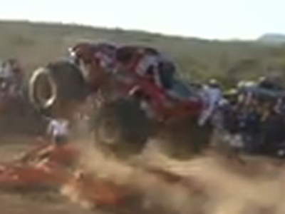 Raw: Monster truck slams into Mexican crowd