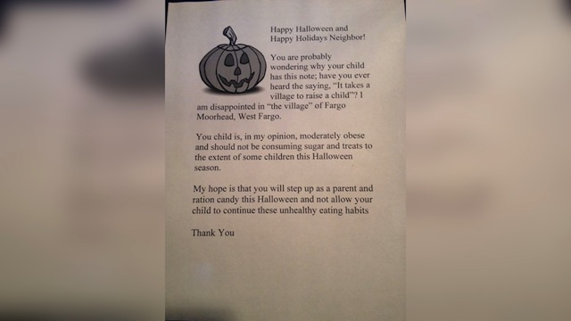 Woman to give 'obese' children letters, not Hallow...