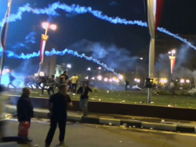 Raw: Egyptian clash at Tahrir Square
