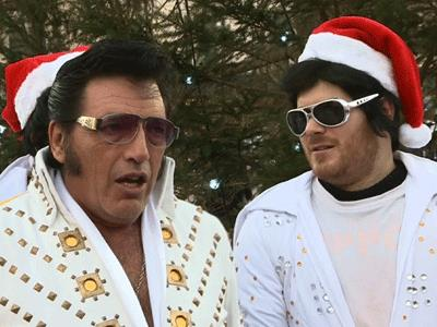 Elvis look-alikes get into the holiday spirit