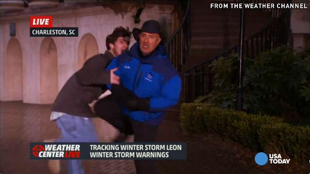 Jim Cantore kneeing videobomber tops snow bloopers