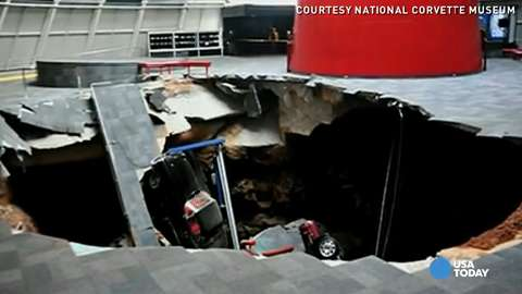 35-foot-deep sinkhole swallows 8 Corvettes at muse...