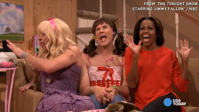 Michelle Obama channels inner tween for 'Tonight S...