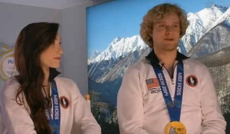 Meryl Davis and Charlie White enjoying the moment