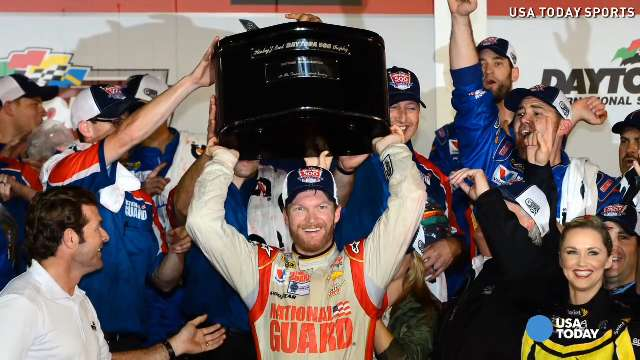 Dale Earnhardt Jr celebrates winning the 2014 Daytona 500 late Sunday night.