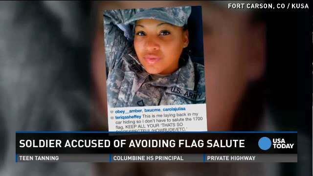 Solider hides in her car to avoid flag salute