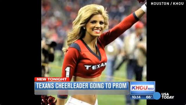 Teen convinces Texans cheerleader to go to prom