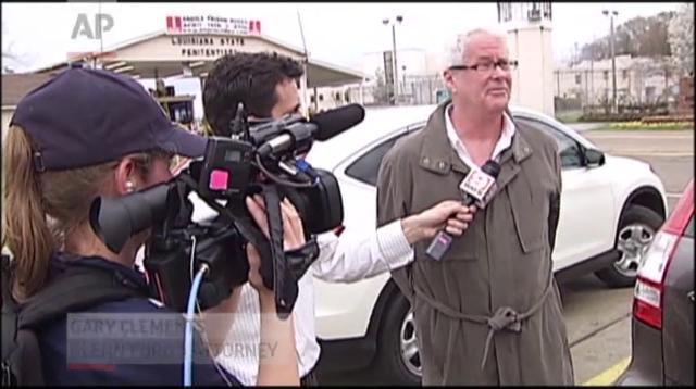 In this frame grab from video provided by WAFB-TV 9, Glenn Ford, 64, talks to the media as he leaves a maximum security prison, Tuesday, March 11, 2014, in Angola, La.