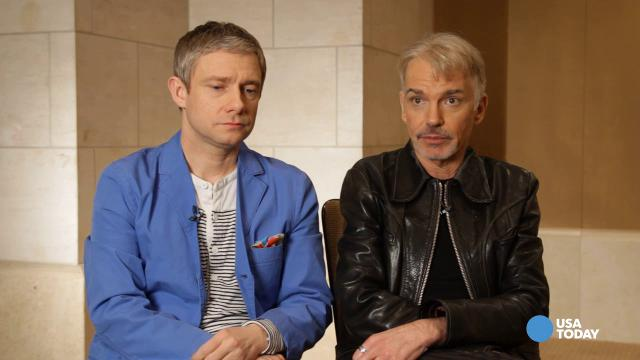 There goes the neighborhood: Martin Freeman, left, and Billy Bob Thornton have moved to 'Fargo.'