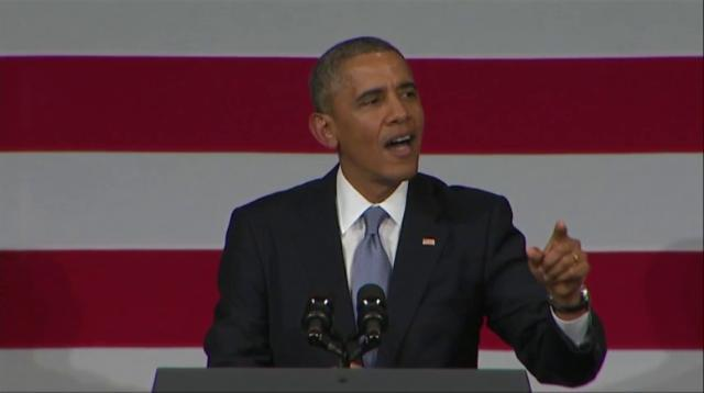 Raw: Obama to heckler, 'I love you Back!'