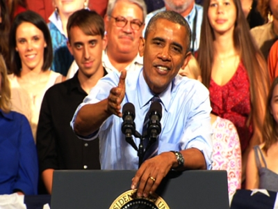 Obama responds to hecklers on immigration