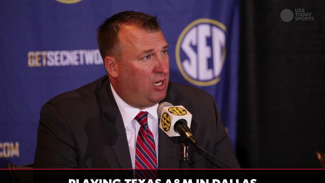 Arkansas head coach Bret Bielema discusses player ...