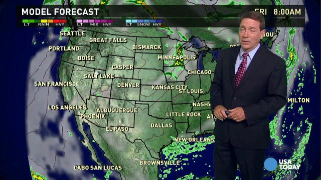 Thursday's forecast:  East warms up as cold front exits