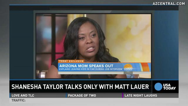 Shanesha Taylor, right, left her kids in her SUV while on an interview in March. She reached a settlement with the Maricopa County Attorney's Office on Friday, July 18, 2014, requiring her to complete a diversion program to have the child-abuse charges dropped. Arizona isn't among 19 states with laws specifically addressing kids left in cars.
