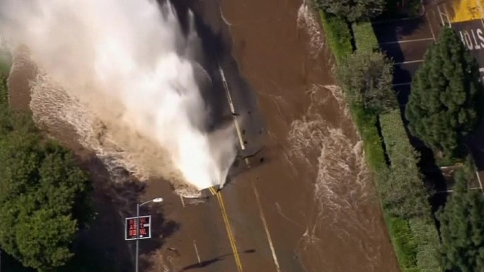 Massive water main break floods UCLA campus