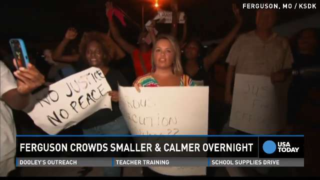 Calm night in Ferguson for 1st time since teen's death