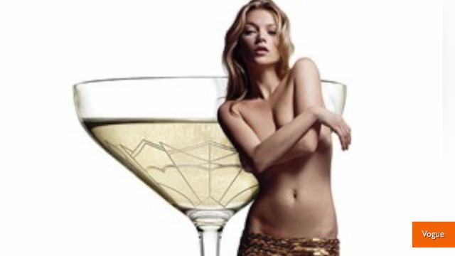 A champagne glass designed from Kate moss' breast