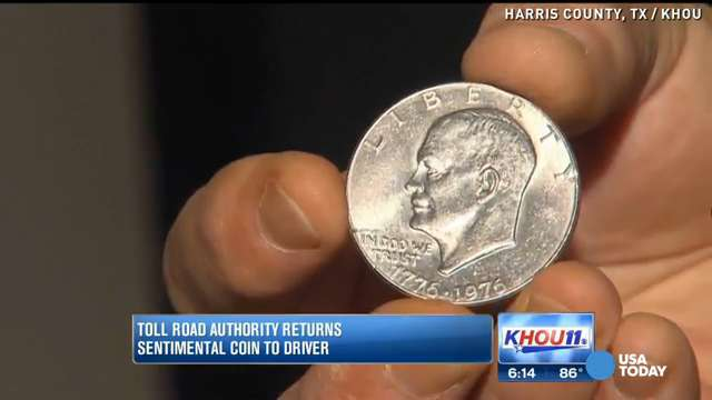 Special coin lost at toll booth returned to owner