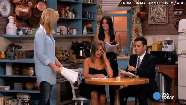 'Friends' ladies indulge Jimmy Kimmel with role-playing