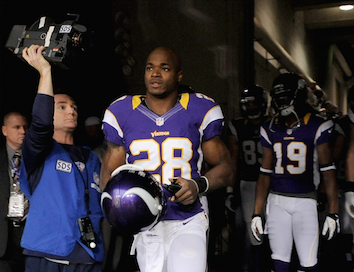 Minnesota Vikings running back Adrian Peterson (28) talks with a reporter after a recent practice at Winter Park.