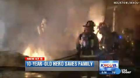 Heroic 10-year-old boy saves family from burning home