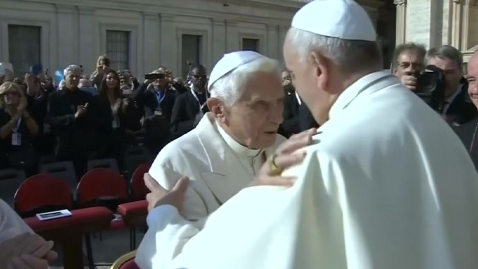Two popes attend gathering for elderly at Vatican