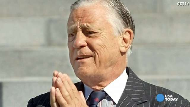 Ben Bradlee in July 2001, at the funeral of former chairman and chief executive officer of The Washington Post Co. Katharine Graham in Washington, DC.