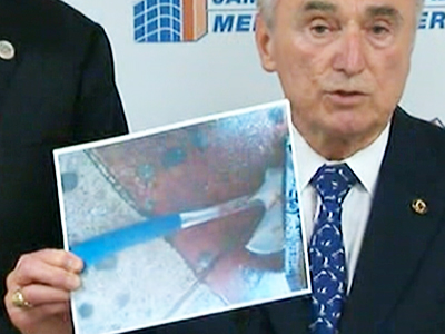 The hatchet used by Zale Thompson to attack NYPD officer Kenneth Healy is seen here.