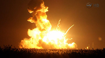 Unmanned Antares rocket explodes on launch