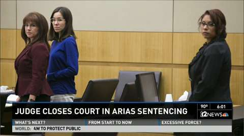 Travis Alexander's sister, Tanisha Sorenson, reads a statement to the jury during the sentencing phase retrial of Jodi Arias at Maricopa County Superior Court in Phoenix on Thursday.