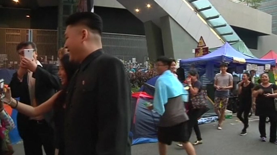 """Kim Jong Un"" brings Halloween humor to Hong Kong protests"