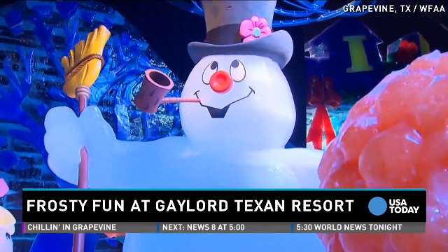 It looks more like the North Pole than north Texas at the Gaylord Texan Resort, which has been transformed into a winter wonderland with 2 million pounds of carved ice. There's even an ice bar and ice slides.