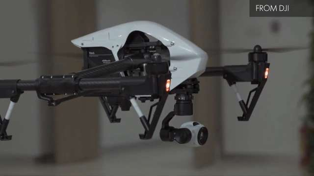 The DJI Inspire 1 drone is a relatively inexpensive prosumer-level drone carrying aloft a high-definition video camera.