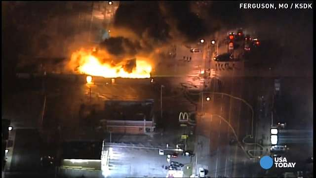 Ferguson in flames sparks nationwide protests