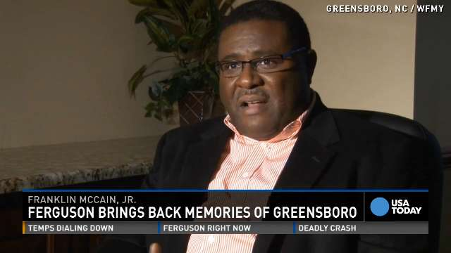 Franklin McCain, Jr., talks about Ferguson unrest and shares what his late father might say about it.
