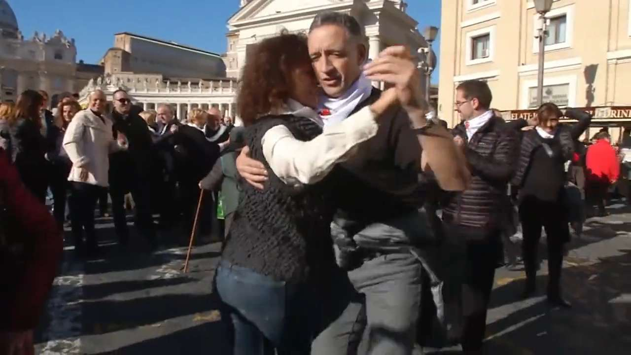 Flash mob does the tango for the Pope