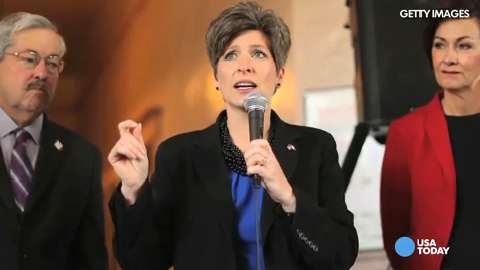 Republican Sen. Joni Ernst thanks supporters in West Des Moines on election night after defeating Democrat U.S. Rep. Bruce Braley for the Senate seat of Tom Harkin.