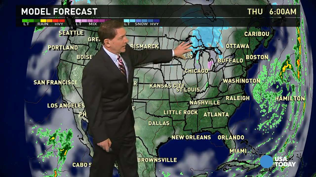 Thursday's forecast: Snow moves into Great Lakes