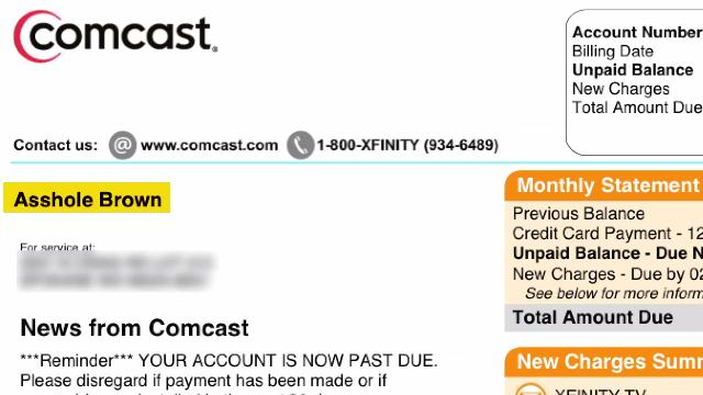 Comcast calls customer A**hole on Bill