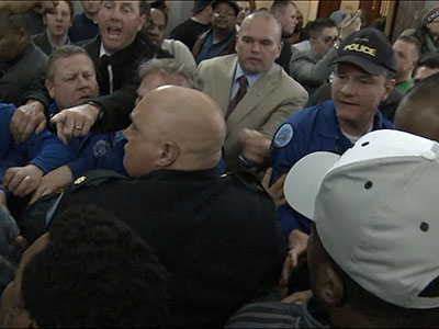 Raw: Scuffle breaks out at St. Louis hearing